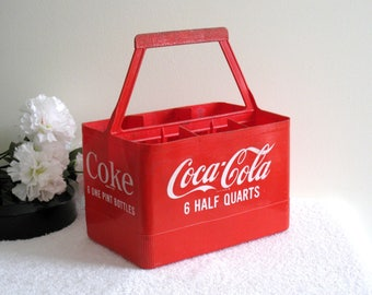Vintage Coke Carrier For 6 One Pint Bottles, 1960s Plastic Coca Cola Caddy, Coke Carry Crate, 16 Oz. Coke Bottles Holder