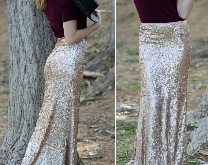 Free Shipping! Champagne Maxi - Gorgeous high quality dangly sequins- Long sequined skirt (s,m,l,xl) Handmade in LA!