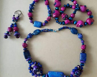 Clearance Sale Grab Bag Gemstone Blue & Purple Day of the Dead Rockabilly Goth Skull  Necklace, Bracelet x 3 and Matching Earrings