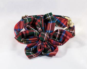 Red Scottish Tartan Plaid Girl Dog Flower Bow Collar, Holiday Dog Collar, Bowtie Dog Collar, Red Dog Collar , Scottish, Flannel, Christmas