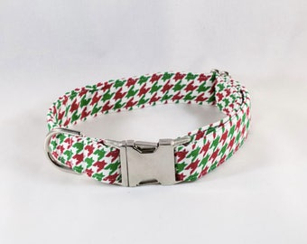 Green and Red Christmas Houndstooth Dog Collar