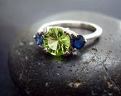 Genuine Peridot Fancy Round Cut 7mm & Genuine Sapphire 925 Sterling Silver Engagement Ring August September Birthstone Anniversary Gift