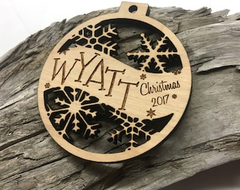 Wyatt - Customizable Baby's First Christmas Ornament - Engraved Birch Wood Ornament