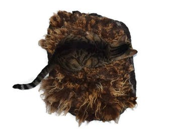 Cruelty Free, Shetland, Cat Bed, Pet Bed, Dog Mat, Wool Fleece, Natural Bed, Humane Sheepskin, Hand Felted Rug, ReadyToShip, Cat Lover Gift