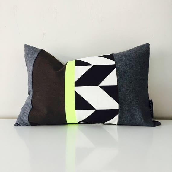 "Chevron Pillow Cover 14""x24"" Lumbar Cushion Black and White Zig Zag Neon Chartreuse Yellow Graphic Abstract Modern Stripes Bold Mid Century"