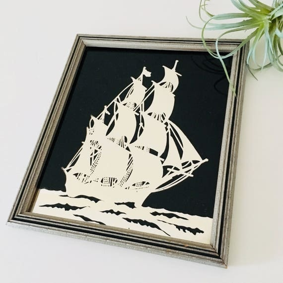 Vintage Black Sailing Ship Silver Wood Framed Picture Nautical Mirror Ocean  Boat Scene