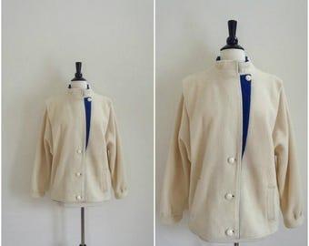 Summer Sale Vintage white wool coat with royal blue details / asymmetrical winter jacket / bomber jacket