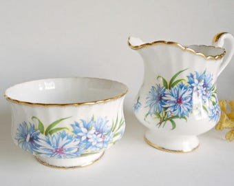 Vintage Paragon Cream and Sugar Set Blue Cornflower