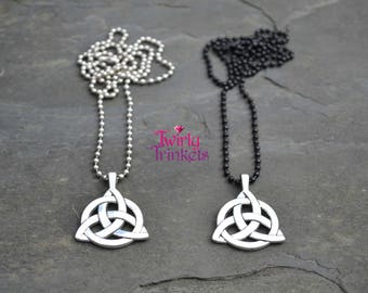 Celtic TRIQUETRA Knot Silver Or Black Bead Ball Chain Necklace - qq, choose length :)