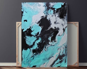 Turquioise Painting, Silver Painting, Abstract Painting on Canvas, Pour Painting, Original Painting, Wall Art, 36x24 Heather Day