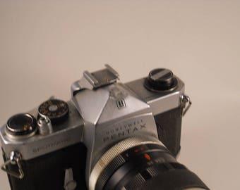 Pentax Spotmatic film camera two lens and bag
