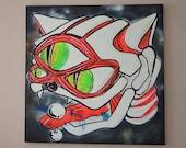 Graffiti Art on Canvas - Galaxy Anatomy Cat *ORIGINAL Black Light reactive ARTWORK* by Vinni Kiniki