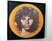 "Jim Morrison art vinyl stencil portrait on reclaimed 12"" record Limited Edition"