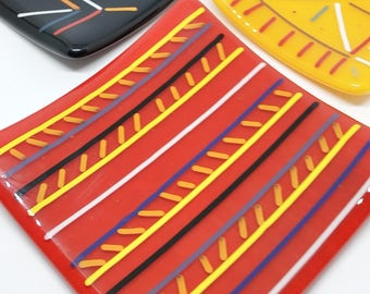Colorful Line Glass Plate, Custom Color and Size