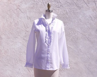1/2 Off SALE Vintage 60s Sears White Long Sleeve Ruffle Blouse