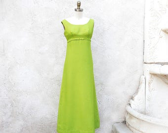 Vintage 60s Mod Gown, Lime Green Sleeveless Dress with Rhinestone Buttons, Empire Waist Bridesmaid, Prom, Reception Dress