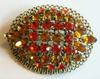 Vintage Monet Flower Brooch Large Openwork Signed Brushed Gold