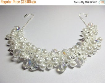 30% OFF SALE thru Mon White Pearl and Crystal Cluster Necklace, Mom Sister LAST One Jewelry Gift, Chunky, Bridesmaid Wedding Necklace, Cockt