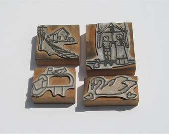 Vintage Print Blocks: 4 Metal and Wood Print Blocks, Mailbox, Swan, Children, Train Station