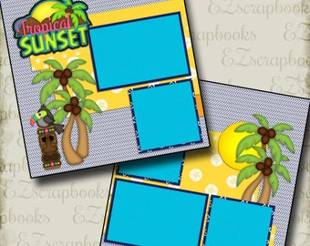TROPICAL SUNSET - 2 Premade Scrapbook Pages - EZ Layout 2118