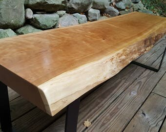 Live Edge Curly Cherry Slab Coffee Table Or Bench With Black Metal Legs