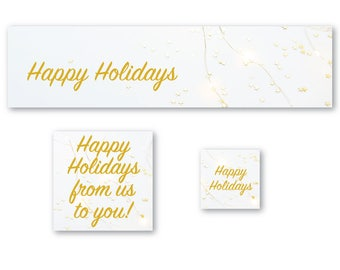 Gold Stars, Happy Holidays, Christmas, Cover Photo, Shop Icon, Avatar, Shop Banner