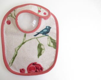 EcoBib--Adjustable Snap Closure--Modern Perched BlueBird with Roses--Ready to Ship