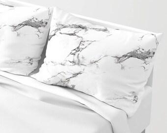 Black White Marble Pillow Sham standard or king SET OF 2, Grey Neutral Stone Texture Girls Dorm Bedding Teen Room Decor Bright Light colors