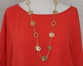 Long Necklace, Flat coin and gold chain Necklace, link necklace. Gift for her, Gold necklace, Holiday git, everyday use