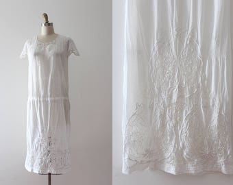 vintage 1920s dress // 20s white cotton cut out embroidery dress