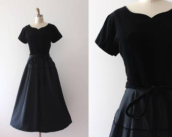 vintage 1950s evening dress // 50s black party dress