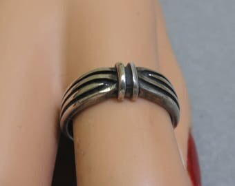 Sterling Silver Band Ring,Gathered Design,  Size 7.50