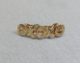 1960s Golden Metal X and O Hair Barrette, Small Golden Barrette
