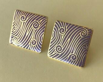 Purple Wind Isle of Skye cloisonné enamel purple and gold pierced earrings