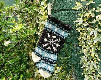 Small Christmas Stocking, Snowflake Christmas Stocking, Knit Stocking, Wool Knit, FairIsle knit, Christmas ornament, ready to ship BlTuSR