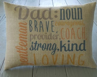 Dad roles Burlap Pillow, Father's Day gift, Birthday Gift, INSERT INCLUDED