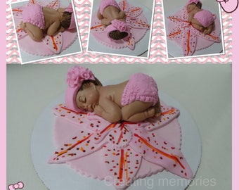 Baby Girl in Pink  Outfit on a bed of Petals.Baby CakeTopper /Cake Decorations/Edible Topper/Baby Shower/first Birthday Christening/Baby
