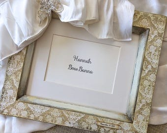 8x10 Photo Frame Bow Jewel Gift Wedding Anniversary Baby Personalize Holiday Hostess Gift White Portrait Picture Frame Damask