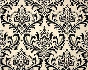 Fabric by the yard, Premier Prints Traditions Black Linen Damask Fabric