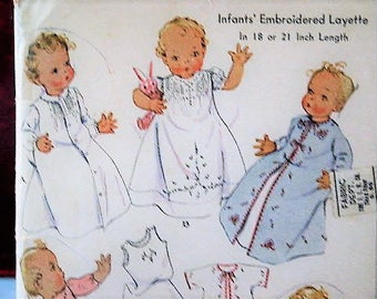 """Antique Vintage 1930's McCall Infant Baby Baptism Christening Dress Layette Bib Embroidered 537 Sewing Pattern Size 18"""" or 21"""""""