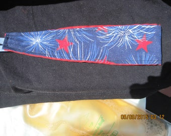REVERSIBLE Head/Hair Band..Red,White Stars & Sparklers and Red Tye Dye Print/Nautical.....blue/white band ..hand made...1002HK...OOAK