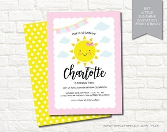 You are my sunshine birthday party invitation