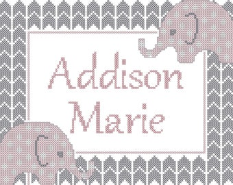 Elephant baby cross stitch pattern/Elephant chevron nursery cross stitch pattern/modern nursery/cross stitch pattern/baby cross stitch chart