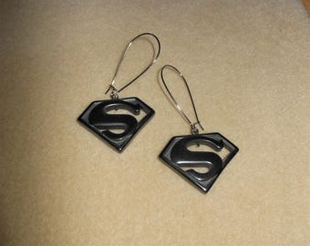 Superwoman Statement Earrings/Carved genuine hematite Superwoman pierced earrings/hematite pierced earrings/statemenet pierced earrings