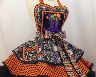 Halloween Treats or Tricks Pin Up Apron- Ready To Ship, Halloween Party
