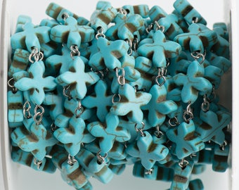3ft (1 yard) TURQUOISE HOWLITE Fancy Cross Bead Rosary Chain, gemstone chain, SILVER links, 14mm gemstone beads, fch0710a
