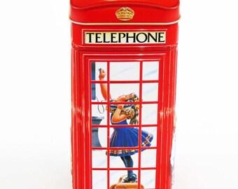 "Vintage CHURCHILL'S TELEPHONE KIOSK / Booth - Money Box Tin / Child Themed / London, England / 6.25"" Tall / Great Gift"