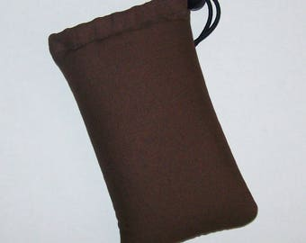 """Pipe Pouch, Brown Pipe Case, Pipe Bag, Glass Pipes, Pipe Cozy, Padded Pipe Pouch, 420, Weed, Cannabis, Smoke Accessory - 5"""" DRAWSTRING"""