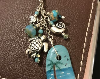 Handpainted beach stone and bead travelers journal planner purse cell phone dangle charm