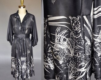 Meow! Vintage 70s black printed dress | tiger print dress with balloon sleeves, belted, v neck